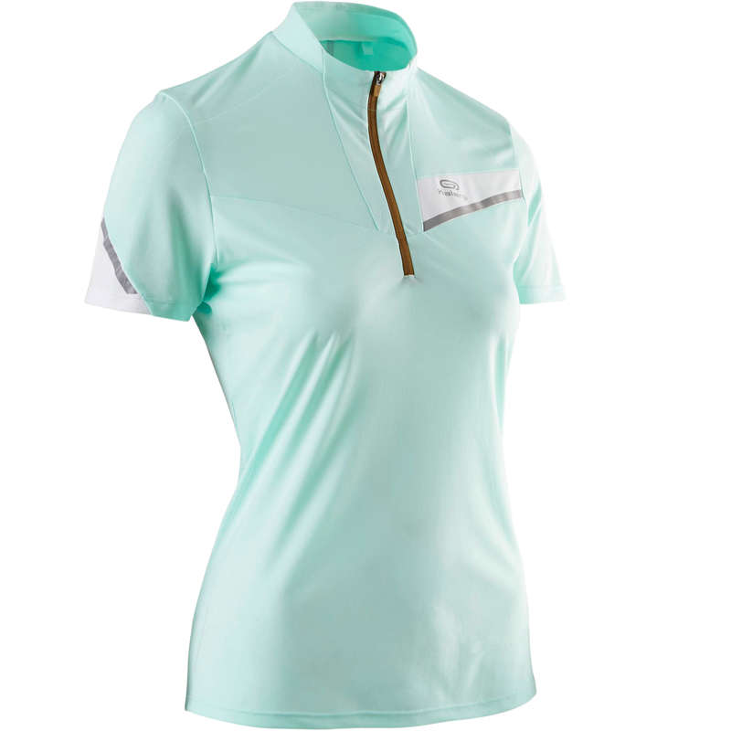 WOMAN TRAIL RUNNING CLOTHES Clothing - W SS TRAIL TS - PASTEL GREEN KALENJI - Tops