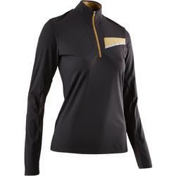 女款越野跑長袖T恤 - 黑色/古銅色