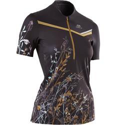 女款越野跑步短袖T恤 - 黑色