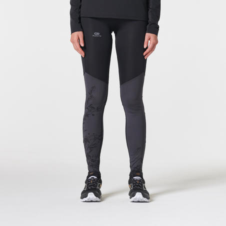 WOMEN'S TRAIL RUNNING TIGHTS - BLACK/GREY/FLOWERS