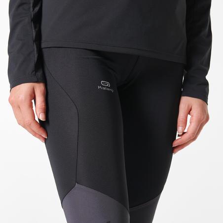Celana Ketat Lari Trail Wanita- hitam/abu-abu/oranye