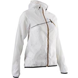 Veste coupe-vent course sur sentier blanc glacier femme