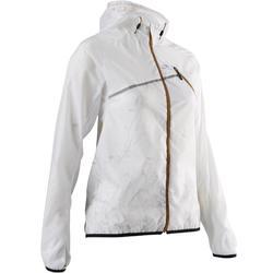 Veste coupe-vent trail running blanc glacier femme
