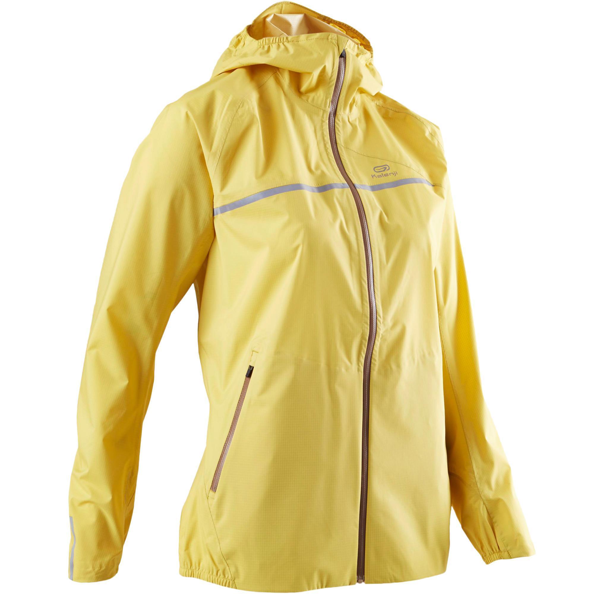 chaussures de séparation 87fb1 d9c27 Veste imperméable trail running jaune ocre femme