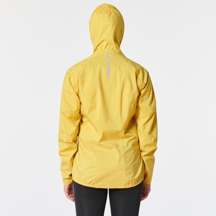 Veste imperméable trail running jaune ocre femme