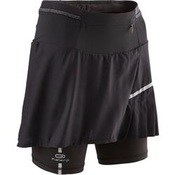 Mallas Cortas Shorts Deportivos Running Kalenji Confort Mujer Negro Falda