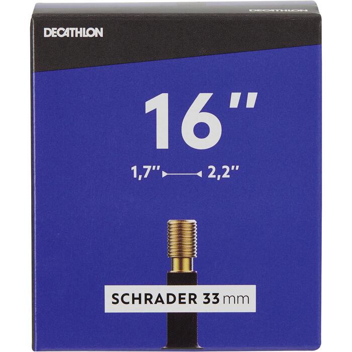 Fahrradschlauch 16 x 1,7/2,2 Schrader 33 mm