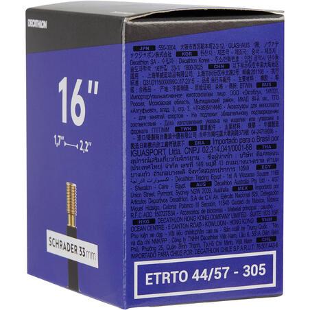 """16"""" 1,70 līdz 2,20 kamera ar """"Schrader"""" ventili"""