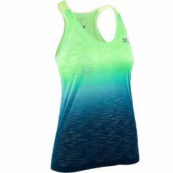 Camiseta Sin Mangas Running Kalenji Kiprun Care Mujer Verde/Azul Fluorescente