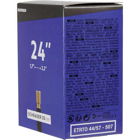 """24"""" 1,7 līdz 2,2 kamera ar """"Schrader"""" ventili"""