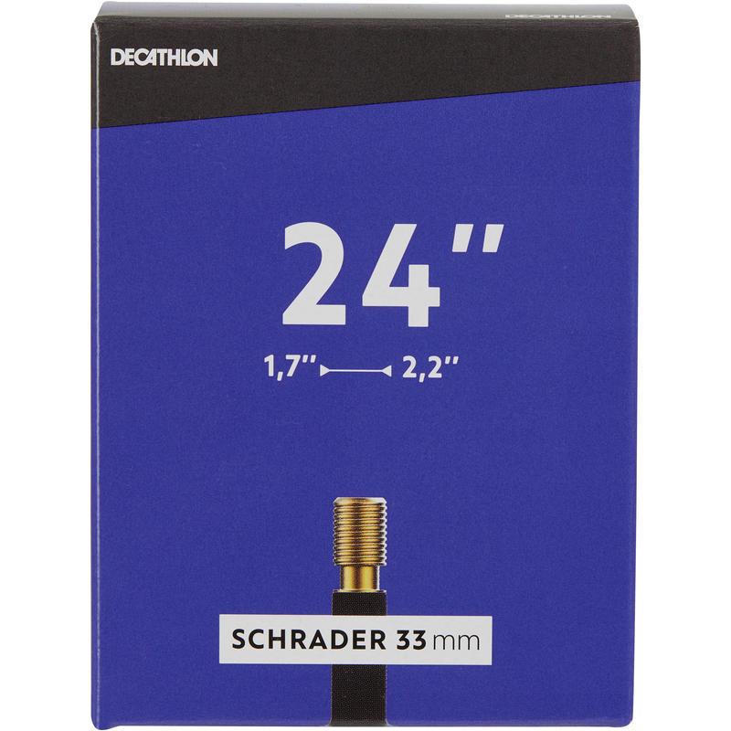 ยางในพร้อมวาล์ว Schrader ขนาด 24 นิ้ว กว้าง 1.7 ถึง 2.2 นิ้ว