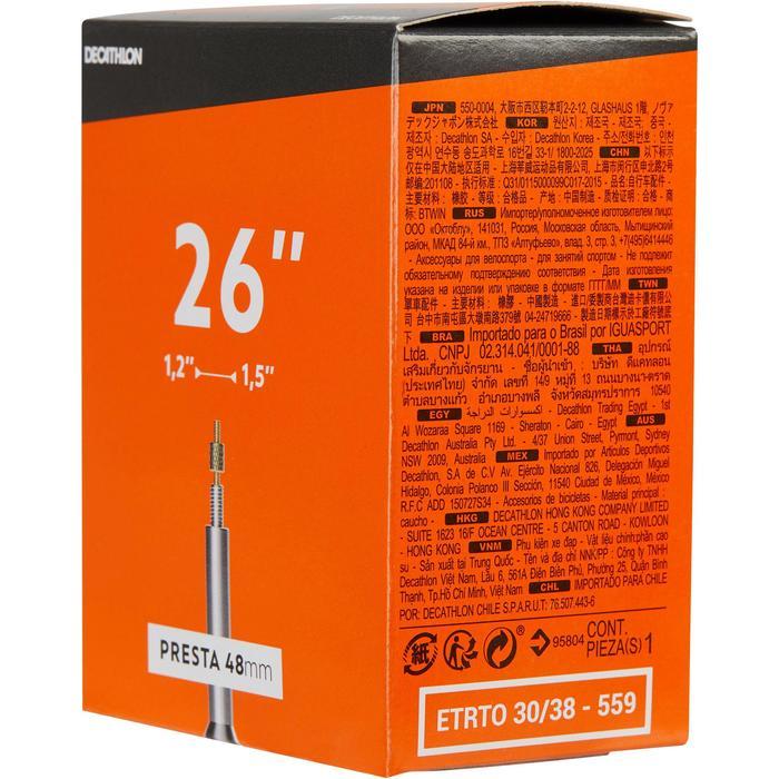 Fahrradschlauch 26 Zoll × 1,2/1,5 französisches Ventil 48 mm