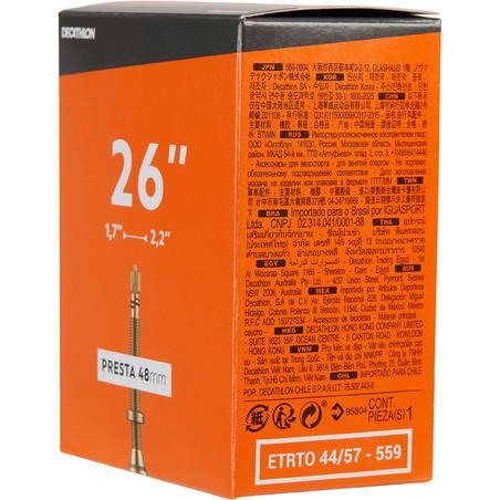Chambre à air 26 X 1,7/2,2 valve Presta 48mm