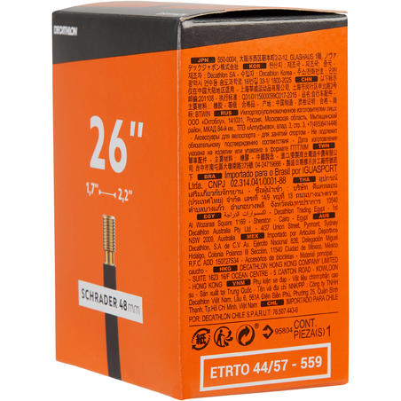 Chambre à air 26 x 1,7/2,2 valve Schrader 48mm