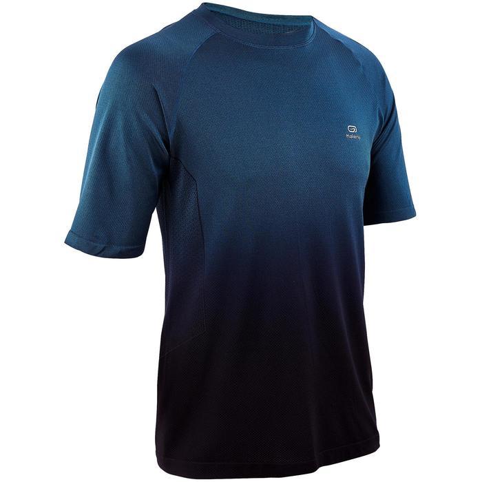 Camiseta Manga Corta Running Kalenji Kiprun Care Hombre Azul y negro