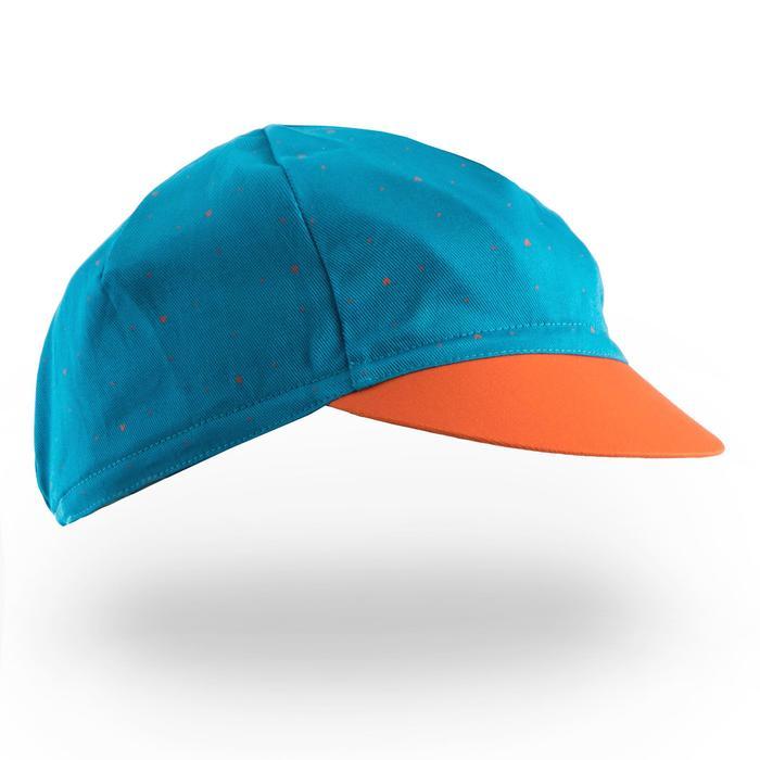 Fahrrad-Mütze Rennrad RR 500 hellblau/orange/marineblau