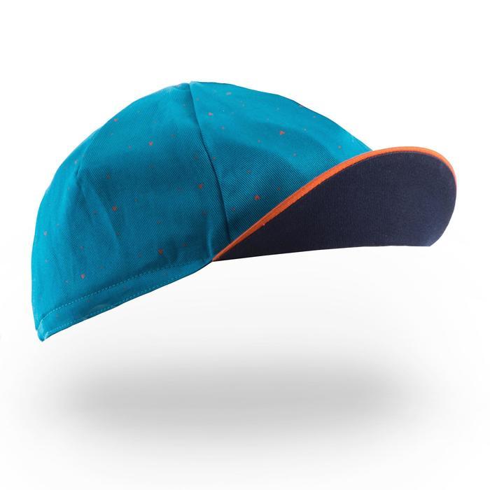 Gorra de ciclismo ROADR 500 azul claro, naranja/azul marino