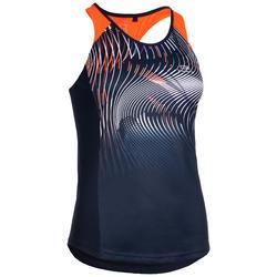 Camiseta Sin Mangas Running Kalenji Mujer Azul y Naranja Atletismo