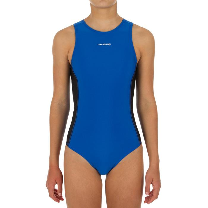 Badeanzug Wasserball 500 Mädchen blau