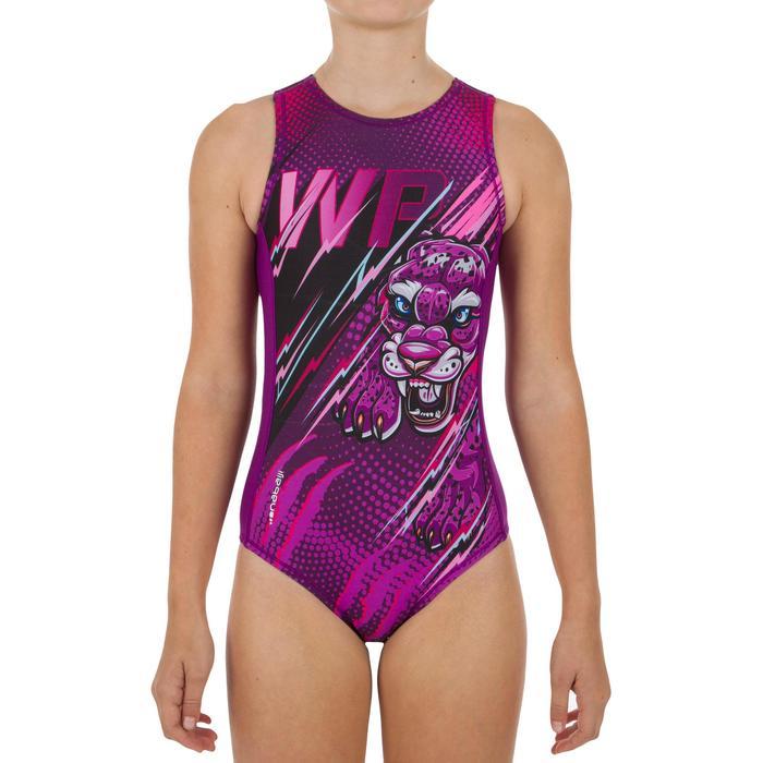 Waterpolobadpak voor meisjes 500 panter paars
