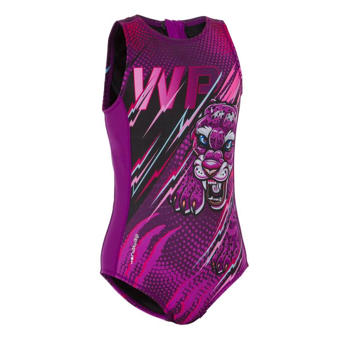 MAILLOT BAIN WATER POLO 500 FILLE PANTHER VIOLET