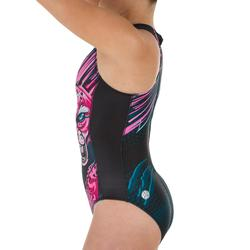 Waterpolobadpak voor dames 500 panter zwart