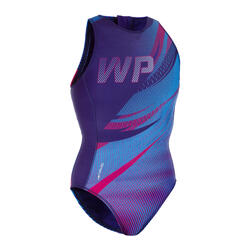 MAILLOT BAIN WATER POLO 500 FEMME SPORTS ROUGE