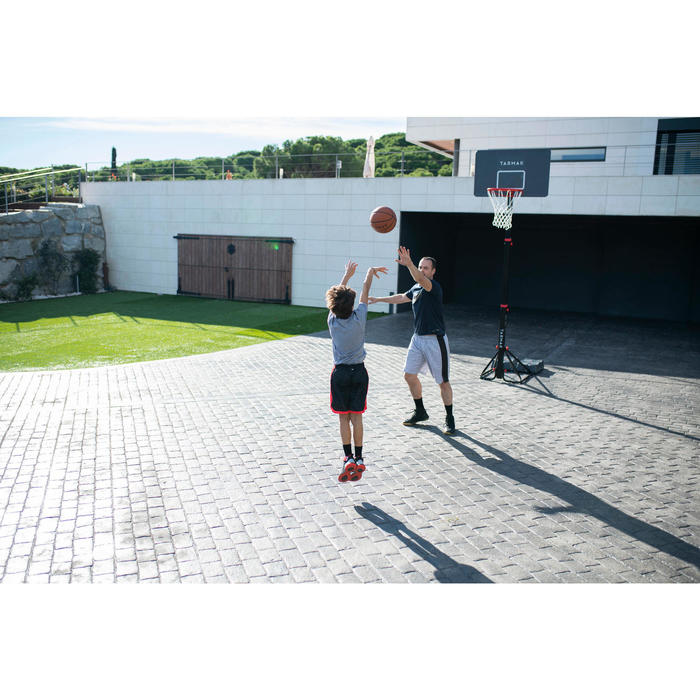 Panier de basket enfant/adulte B400 EASY noir rouge. 2,40m à 3,05m sans outils.