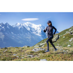 女款越野跑步緊身褲 - 黑灰配色加上花樣圖案
