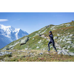 Laufhose Tights lang Trail Damen grau/Blumenmuster