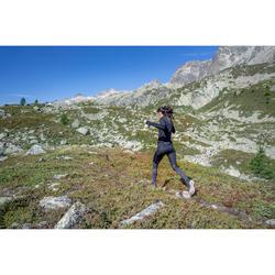 Collant trail running femme noir gris fleurs