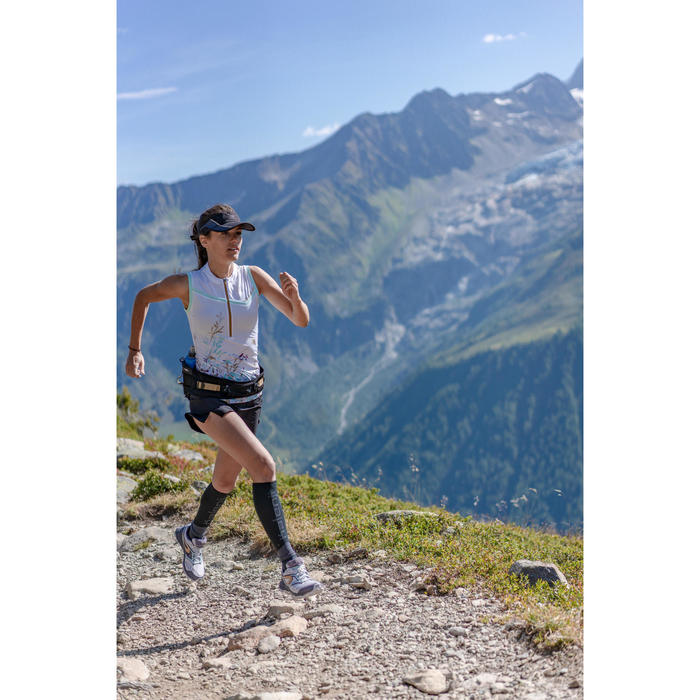 Débardeur perf trail running blanc vert menthe pastel femme