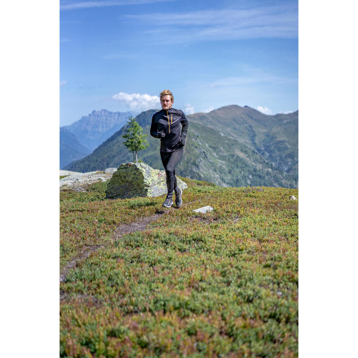 Laufhose Tights lang Trail Herren schwarz/grau