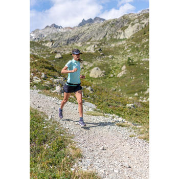Camiseta de manga corta trail running para mujer verde menta pastel