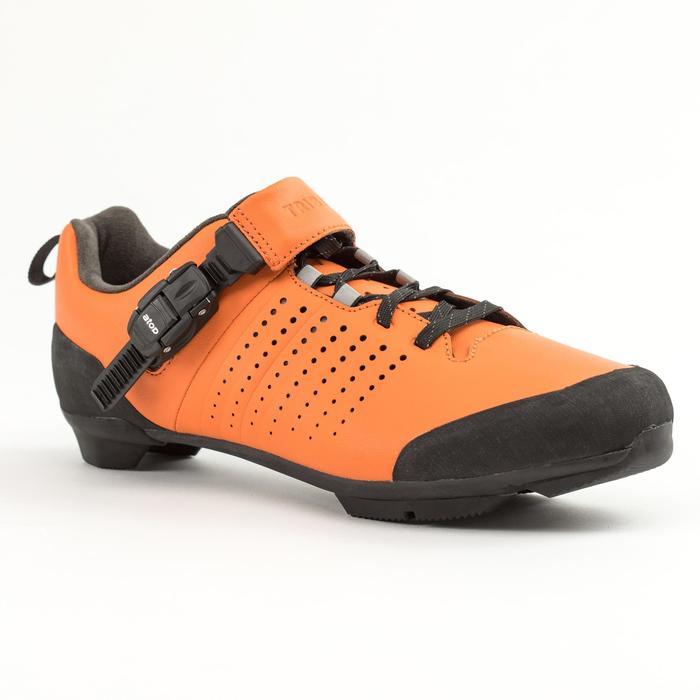 Leren fietsschoenen SPD 520 met veters en gesp oranje