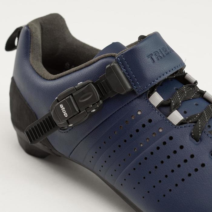 Leren fietsschoenen SPD 520 met veters en gesp marineblauw