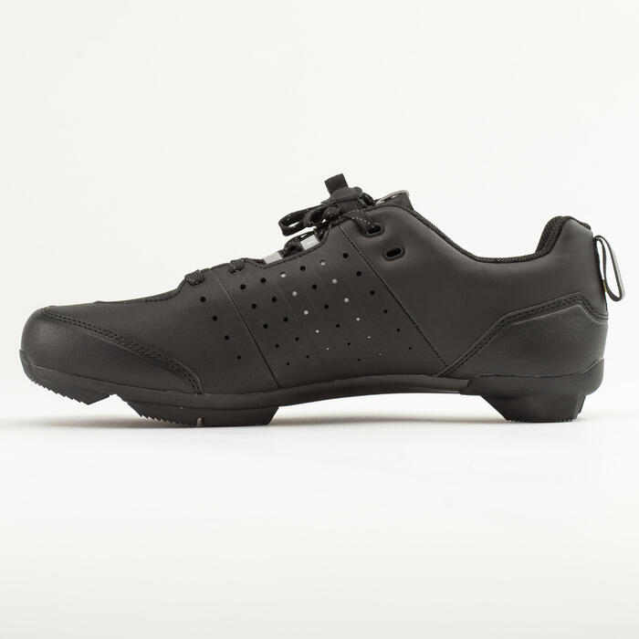 Fietsschoenen racefiets met veters SPD wielertoerisme RC500 zwart