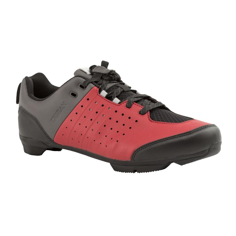 RC500 Lace Up Road Cycling Shoes - Burgundy/Grey