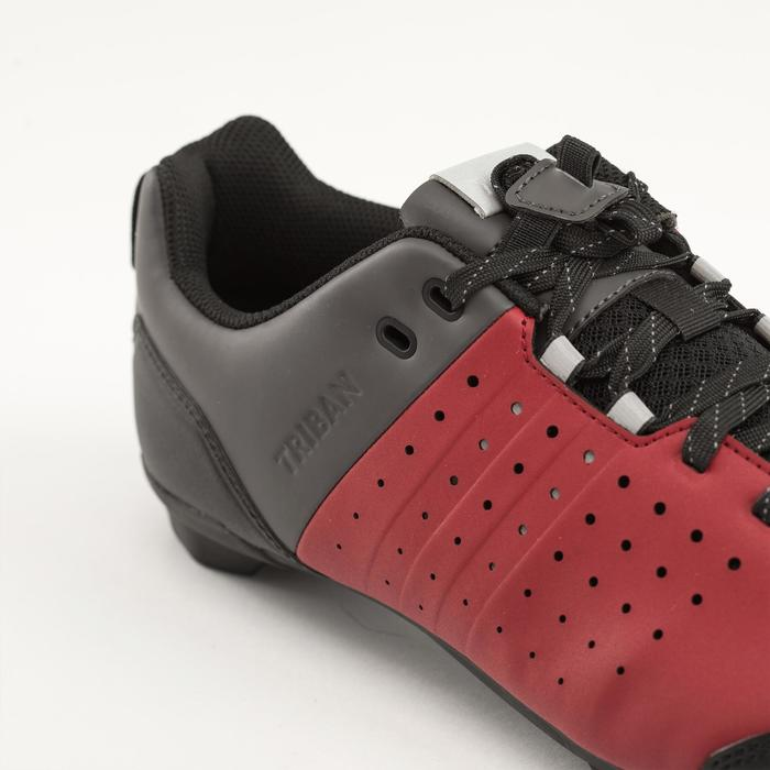 Fietsschoenen racefiets met veters SPD wielertoerisme RC500 bordeaux/grijs