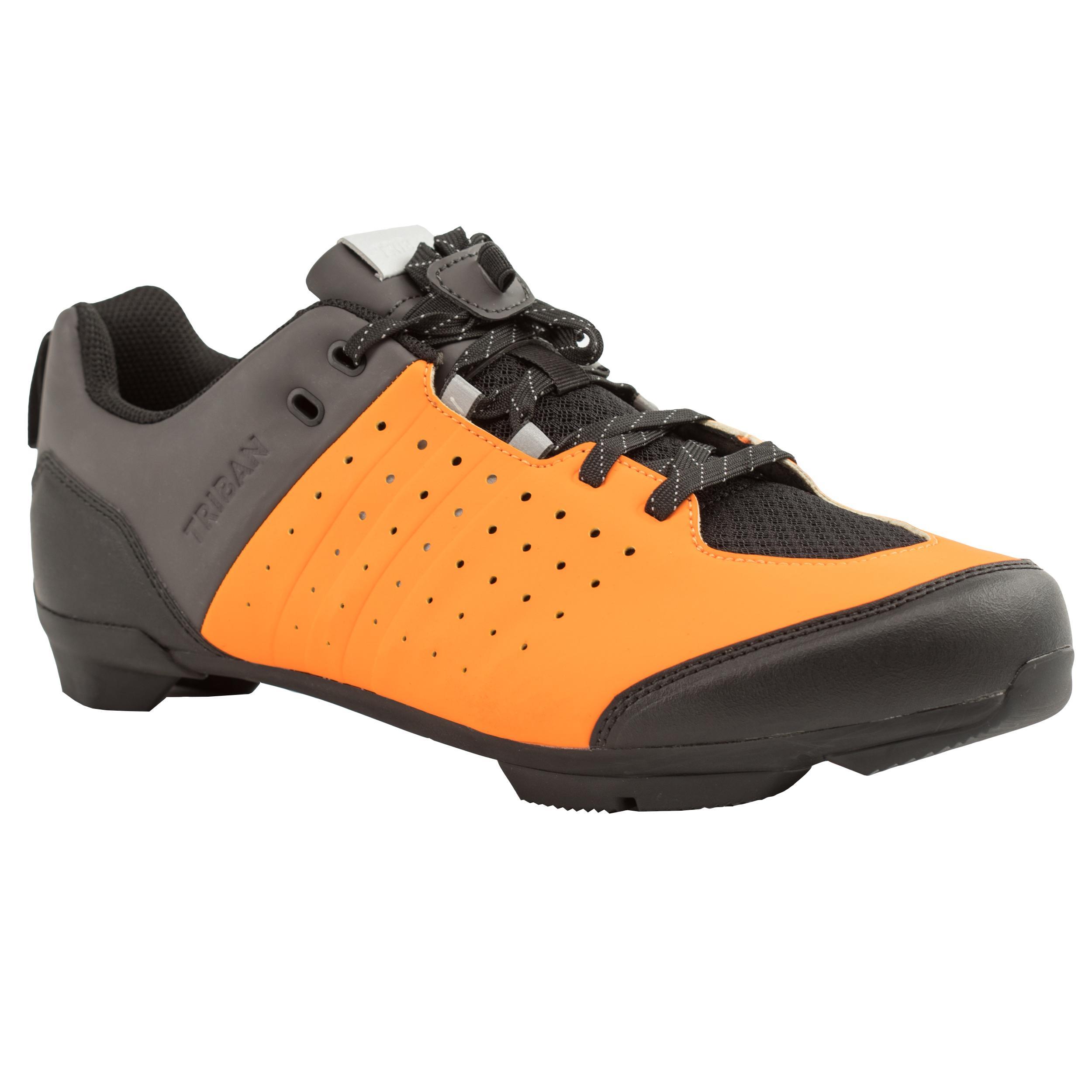 Fahrradschuhe Rennrad RC 500 (für SPD Cleats) ORANGE/GRAU   Schuhe > Sportschuhe > Fahrradschuhe   Orange - Grau   Triban