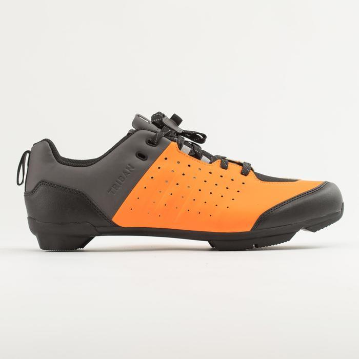 Fietsschoenen racefiets met veters SPD wielertoerisme RC500 oranje/grijs