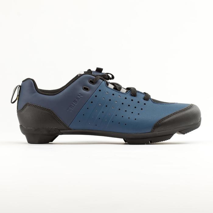 Fietsschoenen racefiets met veters SPD wielertoerisme RC500 marineblauw