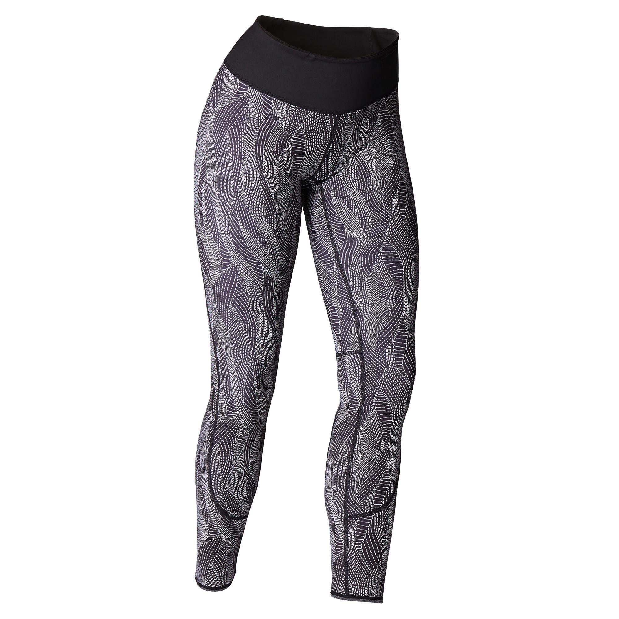 Domyos Omkeerbare legging voor dynamische yoga zwart / wit met print kopen