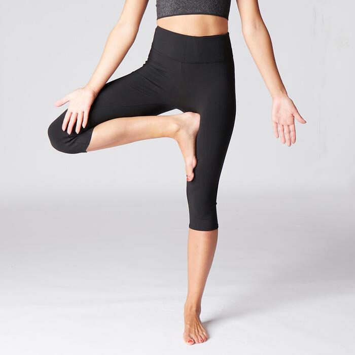 Mallas Piratas Leggings Deportivos Yoga Domyos 900 Slim Mujer Negro Opaco