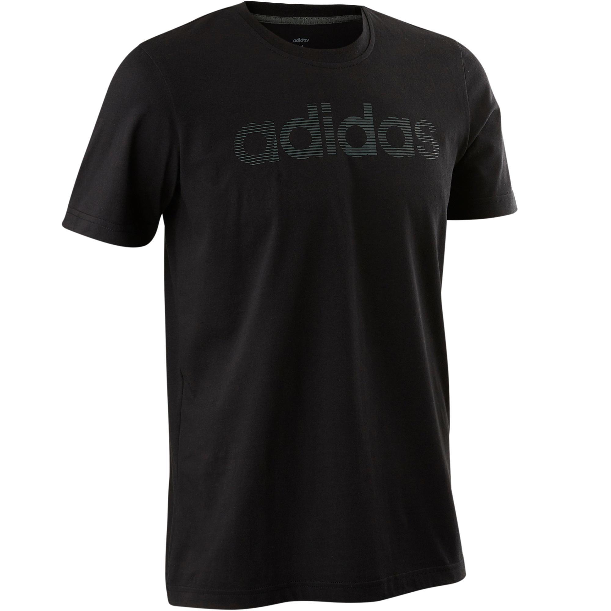 T-Shirt Decadio 500 Pilates sanfte Gymnastik Herren schwarz | Sportbekleidung > Sportshirts > Poloshirts | Schwarz | Adidas
