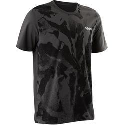 T-shirt Adidas 500 pilates lichte gym heren grijs AOP