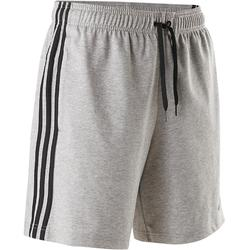 Short Adidas 3S 500 Pilates Gym douce homme gris chiné