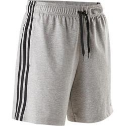 Short Adidas 3S 500 Pilates y Gimnasia suave hombre gris jaspeado
