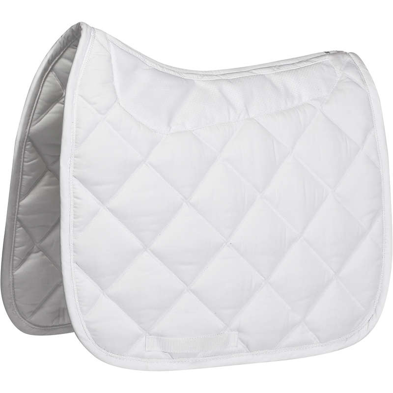 HORSE SADDLE PADS Horse Riding - Grippy Dressage Cloth - White FOUGANZA - Saddlery and Tack