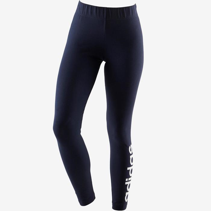 Mallas Leggings Deportivos Gimnasia Pilates Adidas Linear 500 Mujer Azul Marino